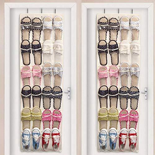 Ailler Door Shoes Holder Closet 177x591inch Hanging Bag 24 Pockets Storage Organizer with 3 Hooks Free Standing Shoe Racks
