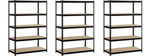 EDSAL Heavy Duty Garage Shelf Steel Metal Storage 5 Level Adjustable Shelves Unit 72 H x 48 W x 24 Deep Pack of 3