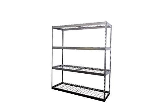 SafeRacks 2x6x7 Garage Shelving - Hammertone Bolted Shelving Rack 24 x 72 x 84 - 500 Pounds Per Shelf High Grade Steel