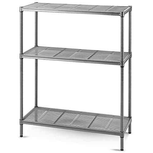 Toolsempire 3 Tier Shelving Storage Rack ShelfGarage Kitchen Metro Shelf Stainless Steel Heavy Duty Shelves Adjustable Shelves and Leveling Feet 355 x 14 x 475 L x W x H