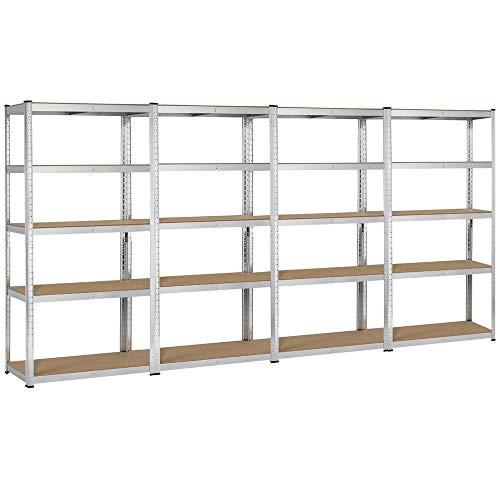 Topeakmart 5 Tier Storage Rack Heavy Duty Adjustable Garage Shelf Steel Shelving Unit71in Height 4 Bay Garage Shelf