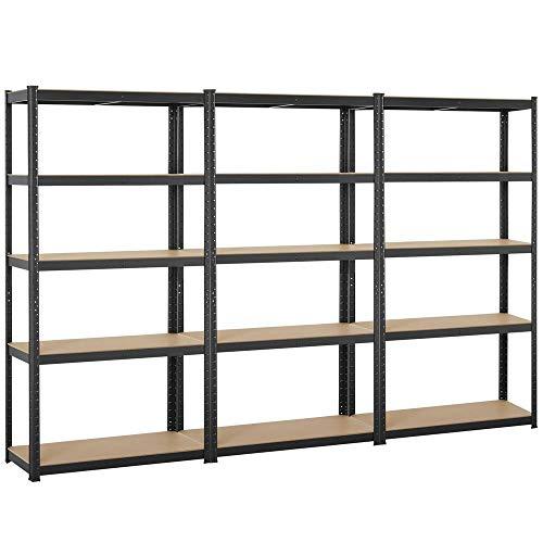 Topeakmart Adjustable 5-Shelf Garage Shelves Metal Storage Rack Shelving Unit Display Rack 71in 3 Packs
