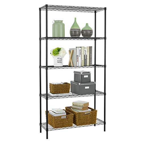 5 Shelf Wire Shelving Unit Garage NSF Metal Shelf Organizer Large Storage Shelves Heavy Duty Height Adjustable Utility Commercial Grade Steel Layer Shelf Rack 1250 LBS Capacity -14x36x72Black