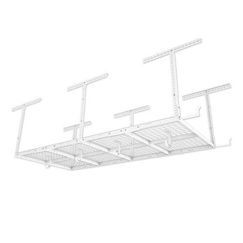 FLEXIMOUNTS 4x8 Overhead Garage Storage Rack wHooks Adjustable Ceiling Storage Racks 96 Length x 48 Width x 40 Height 22-40 Ceiling Dropdown White