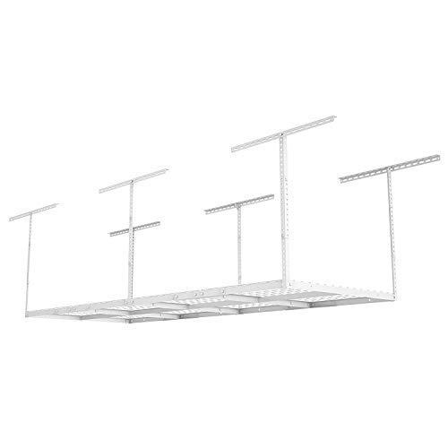 Fleximounts 3x8 Overhead Garage Storage Rack Adjustable Ceiling Storage Rack Heavy Duty 96 Length x 36 Width x 40 Height White