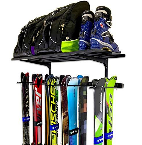 StoreYourBoard Ski Wall Rack and Storage Shelf Holds 10 Pairs Ski Wall Mount Home and Garage Storage Hanger