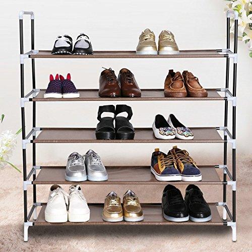 5 Tier Free Standing Shoe Rack 20 Pair Shoes DIY Adjustable Portable Shoe Organizer Storage US STOCK 5 Tier BlackBrown