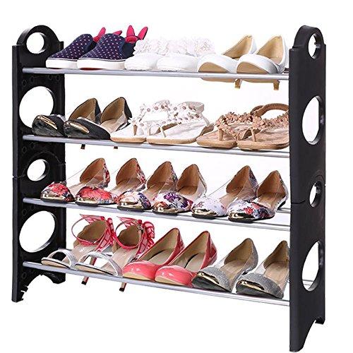 Cheesea Home Portable Folding 4 Tiers DIY Shoes Rack Space Saving Standing Organizer