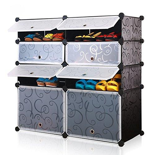 Multi Use Modular Organizer 8-Cube DIY Shoe Rack Black Transparent White