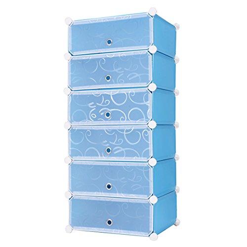 Tangkula DIY Shoe Rack Shelf Portable 6-cube Shoe Cabinet Storage Organizer with Doors