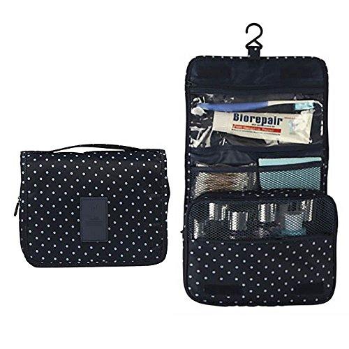 HuaYang Travel Large Capacity Foldable Hanging Cosmetic Washing Storage Bag Organizer-Navy blue Dots