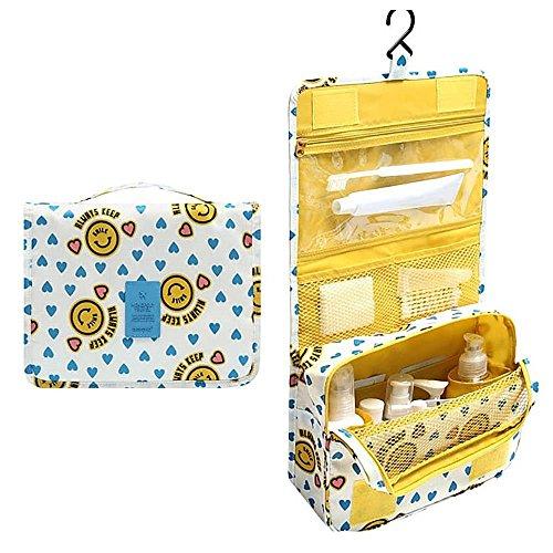 Large Capacity Hanging Storage Bag Cosmetic Washing Makeup Organizer - Yellow Smile