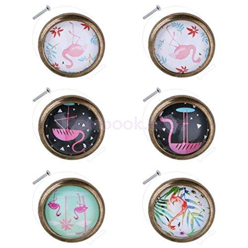 6pcs Flamingo Door Drawer Pull Knob Cupboard Closet Handle Holder 35mmx25mm