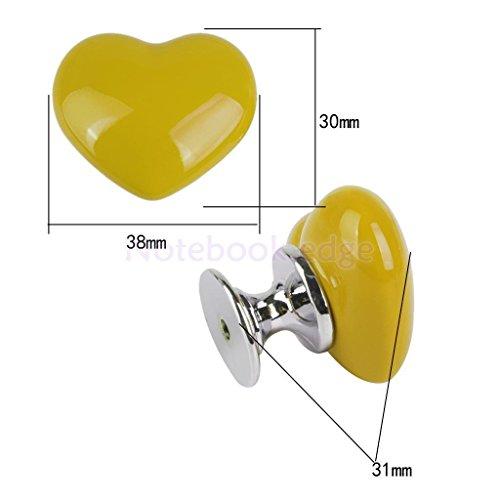 Yellow Ceramic Door Drawer Closet Handle Pull Wardrobe Bin Knob Heart Shaped 38mm