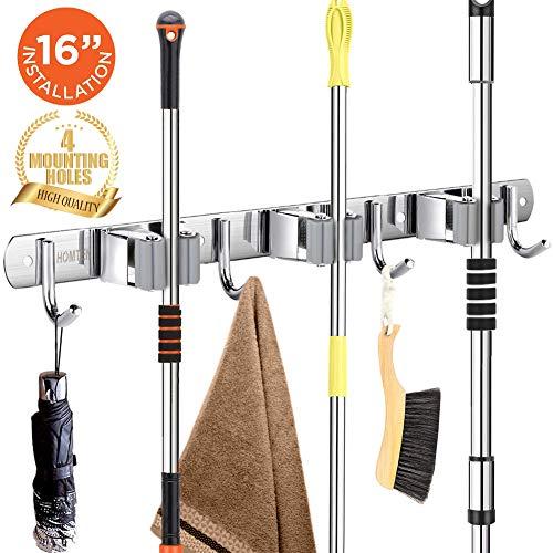 Broom Mop Holder Wall Mount 16 Installation Broom Mop Hanger Organizer Stainless Steel 3 Racks 4 Hooks 2020 Version for Bathroom Kitchen Office Closet Garden