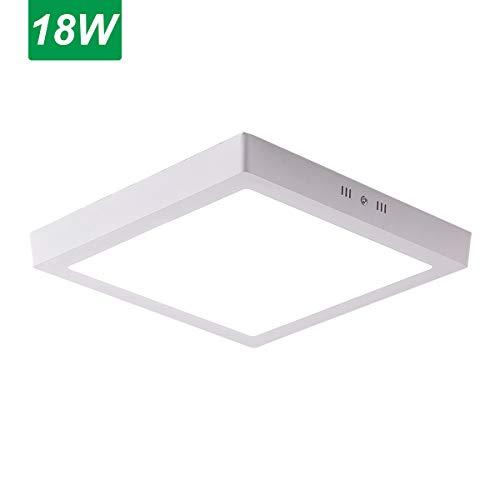 Jaycomey 18W Flush Mount LED Ceiling LightSquare Surface Mounted LED Panel Lamp Fixtures for BathroomKitchenClosetGarageHallwayCool White9 Inches 120W Halogen Bulb Equivalent