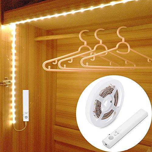 Motion Sensor Wardrobe Light 15M LED Strip Closet Lights PIR Auto onOff Battery Powered Warm White for Bedside Bathroom Closet Cabinet Kitchen Stairs