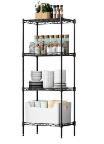 YOHKOH 4-Tier Wire Shelving Unit Metal Storage Rack Adjustable Organizer Perfect for Pantry Laundry Bathroom Kitchen Closet Organization Black