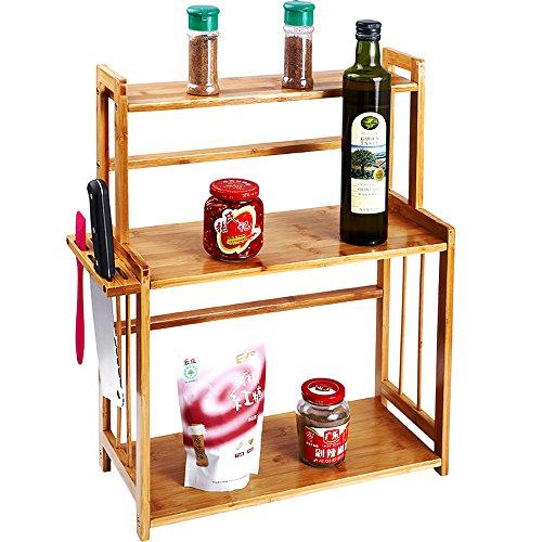 Countertop 3-Tier Natural Bamboo Spice Rack Freestanding Kitchen Cutlery Storage Organizer Holder Shelf with Knife Block