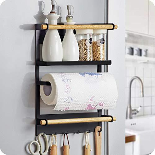 Magnetic Fridge Spice Rack OrganizerTADAMI Multi Use Kitchen Rack Shelves with Paper Towel Roll HolderRustproof Utility Spice Jars Kitchen Rack Refrigerator Shelf Storage Cabinet Door Mount Rack