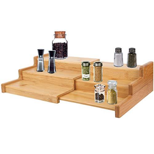 Bamboo Expandable Spice Rack - Narrow Spice Rack3tier Spice RackSpice Rack Organizer for CabinetCountertopKitchenPantry BathroomVanityOfficeAdjustable WideBamboo