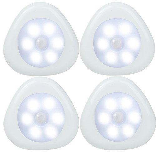 LED Motion Sensor Light Tap Lights Cordless AAA Battery-Powered LED Night Light Stick-on Bathroom Kitchen Stairs Hallway Garage Closet etcBright Light Pack of 4