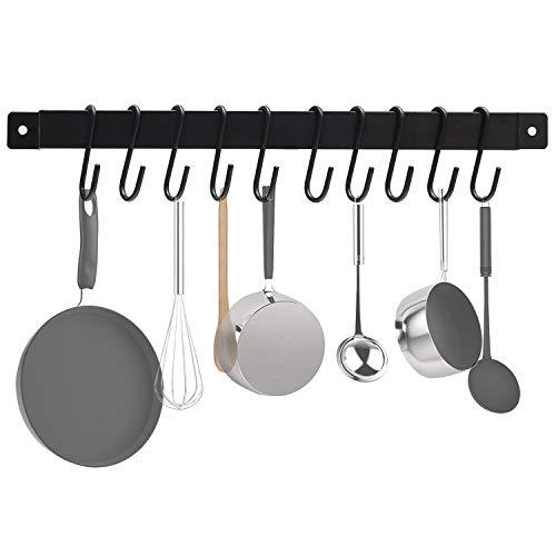 Kitchen Rail Utensil Pot Pan Rack 17 Wall Mounted Rustic Mug Hanger Lid Holder Iron Hanging Organizer with 10 S Hook Black