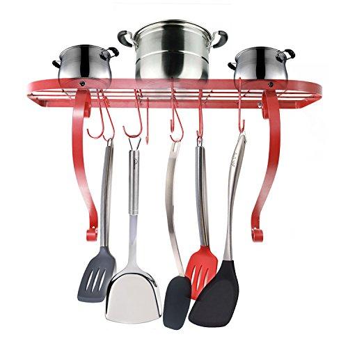 VANRA Wall-Mounted Bookshelf Pot Rack Kitchen Wall Pan Rack with 10 Hooks Red