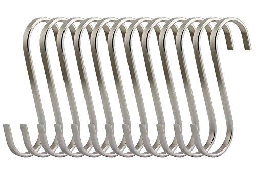 RuiLing Premium 12 Pack Size Medium Brushed Stainless Flat S Hooks Kitchen Pot Pan Hanger Clothes Storage Rack