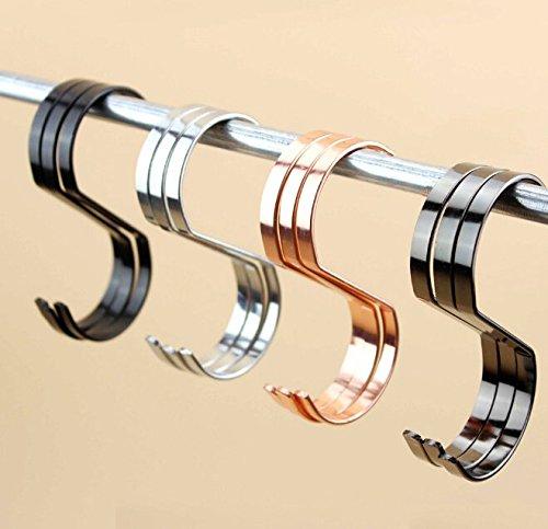 Zicome Set of 8 Flat S Shape Stainless Steel Hanger Hooks - Kitchen Pot Pan Hanger Clothes Storage Rack