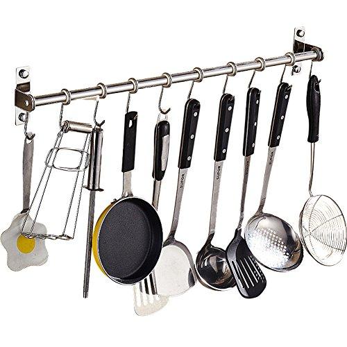Lzttyee Stainless Steel Pot Pan Rack Wall Mounted Lid Holder Organizer Multifunctional Kitchen Utensils 10 Hooks