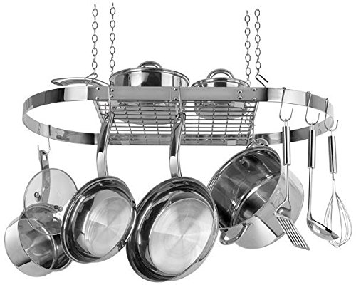 Range Kleen Hanging Pot And Pan Rack Organizer - Oval Stainless Steel Cw6001
