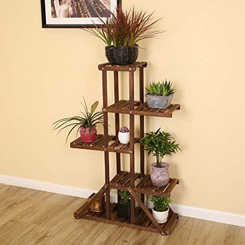 Bonsai Display Plant Flowers Stand Solid Wooden Floorstanding Carbonization Wedding Flowerpot Showcase Shelf Living Room Indoor 2 Sizes 5 Layers WOZUIMEI Wood 69x105cm