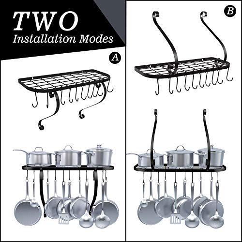 Kitchen Wall Pot Pan Rack - Pan Pot Organizer with 10 Hooks for Cookware Utensils Organization