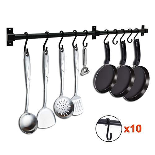 LUEUR 315 Pot Pan Rack Wall Mounted Kitchen Hanging Organizer Pot Hanger Bar Pot Lid Utensil Holder Detachable Rail Black Pipe with 10 S Hooks