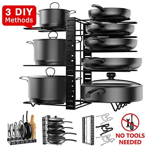 Pot Rack Organizer 3 DIY Methods Height and Position are Adjustable - 8 Pots Holder Metal Kitchen Cabinet Pantry Pot Pan Lid Holder BLACK