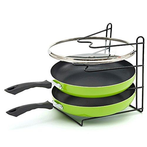 Pan Rack EZOWare Rustproof Vinyl Coated Kitchen Pantry Cabinet Countertop Kitchenware Cookware Organizer Shelf Rack Holder - 3 Tier