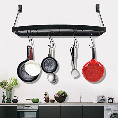 Yaheetech Wall Mount Pot Pan Rack Bookshelf Rack with12 hooks Kitchen Cookware 25 x 117 x 93'' LxWxH