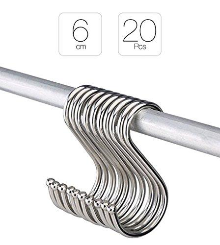 La Tartelette S Shaped Kitchen Hangers for Spoon Pan Pot Hanging Hooks Metal - 20 Pcs 6 cm