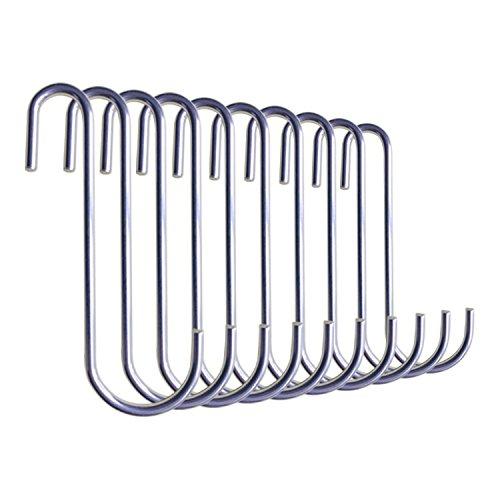 UNENCK Universal Stainless Steel Pot Rack Hooks GardeningPlantClothes Hanging Hooks Set of 10