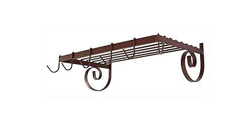 Wall Mount Pot Rack w Shelf Antique Bronze