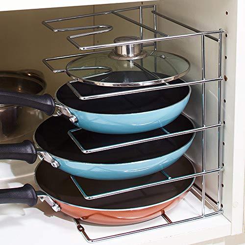 Briskly41 Chrome Skillet and Door Lid Organizer Pot Pan Storage Holder Rack Cabinet Kitchen