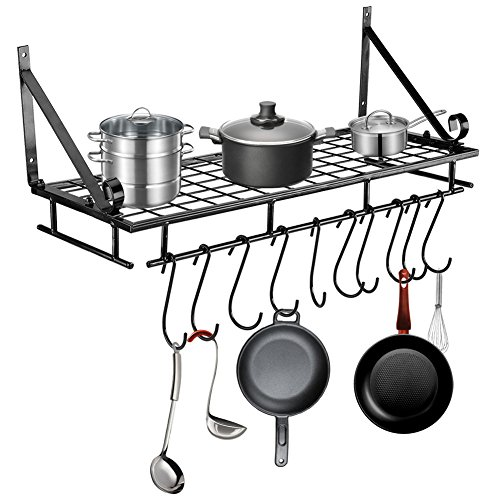 NBSXR Wall-Mount Bookshelf Pot Rack with 12 Hooks 100 Rustproof Kitchen Cookware Storage Organizer Great for Any Room in The House Matte Black