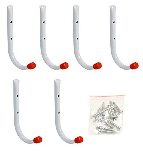 Set of 6 Metal Garage Wall Hooks 7 Long Garage Wall Hangers Multipurpose Wall Hanging Hooks Garage Organizing Hooks Screws Included