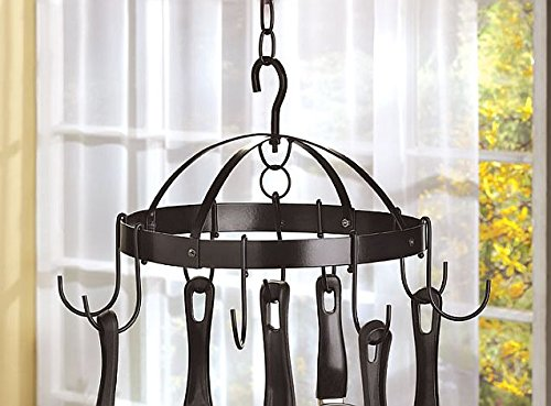 Kitchen Ceiling Mounted Hanging Pot And Pans Storage Rack Shelf Metal Holder Hooks Home Bar Decorative