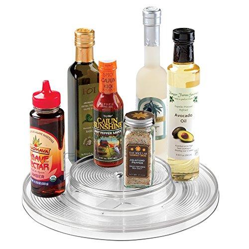 mDesign Kitchen Lazy Susan Turntable Cabinet Spice Organizer Rack for Salt Pepper Cinnamon Ginger - 2-Tier Clear