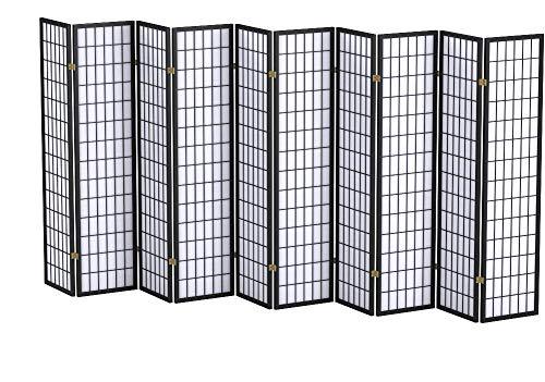Panel Shoji Screen Room Divider 3 - 10 Panel 10 panel Black White Cherry  Natural