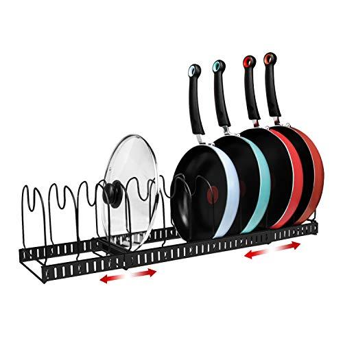 X-cosrack 11 Dividers Pot Pan Lid Rack Bakeware Cupboard Organizer Expandable Patent Pending Black
