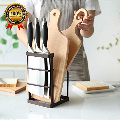 Metal Knife Block Holder Knife Storage Organizer Cutting Board Stand Holder Bakeware Drying Rack Pot Cover Holder for Kitchen Counter Black