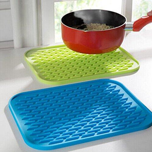 New Silicone Kitchen Trivet Pot Pan Holder Non Slip Heat Resistant Mat - Color Blue
